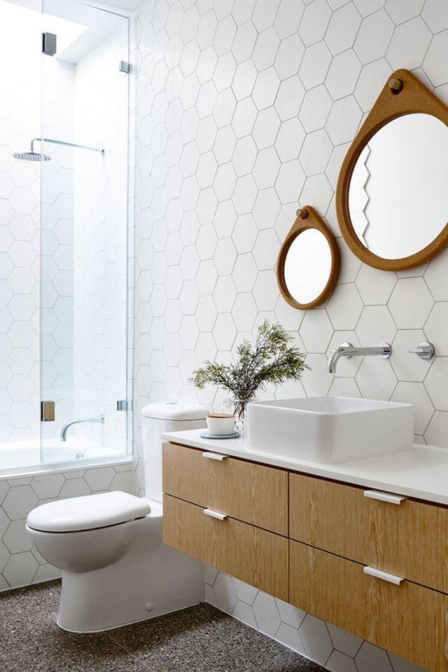 Design Detail Hexagonal Tiles On A Bathroom Wall