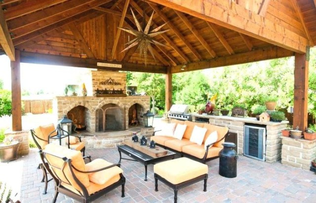 Detached Fireplace Covered Outdoor Patio Ideas Plans