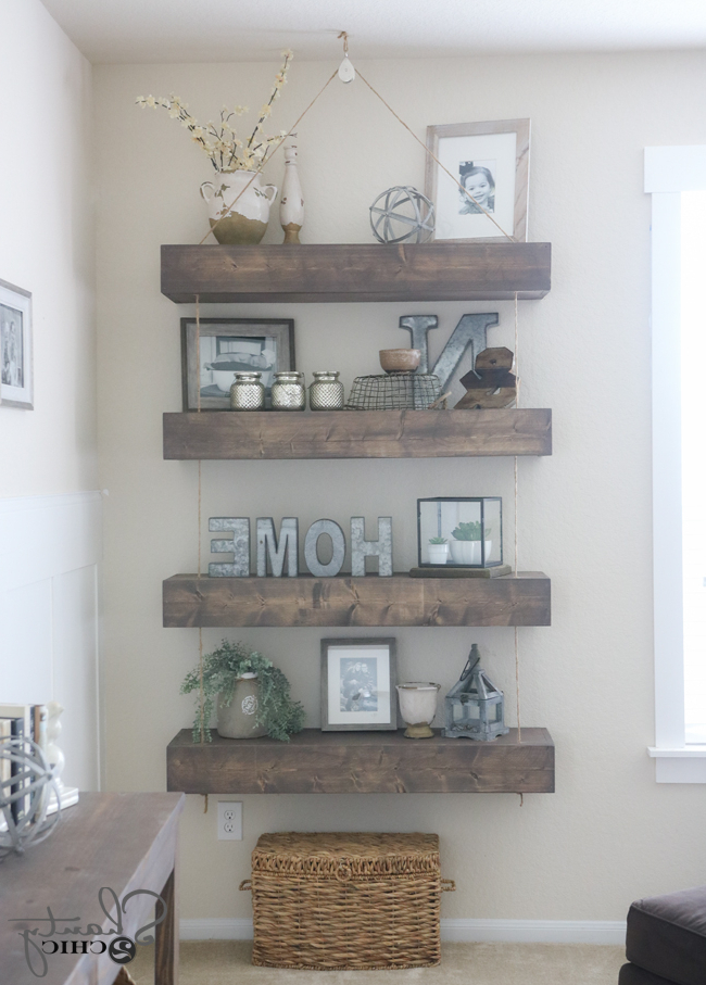 Diy Floating Shelves With Rope And Pulley Free Plans