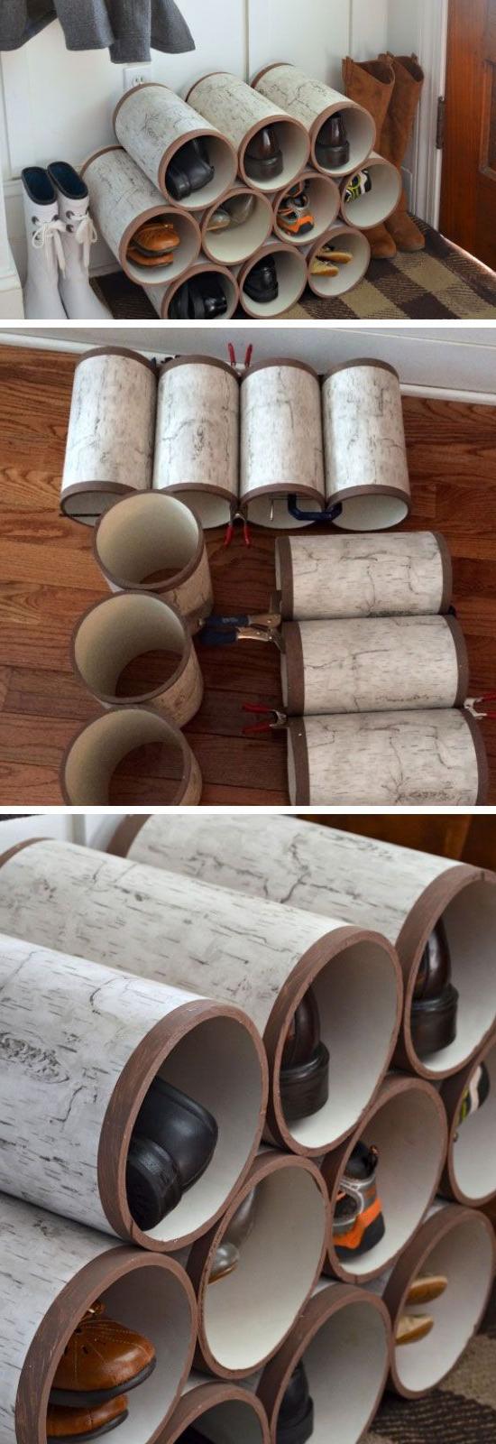 Easy Shoe Storage Ideas On A Budget Pvc Pipes Diy Shoe