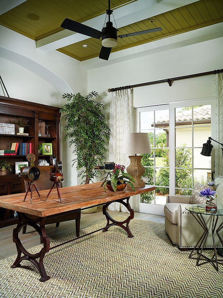 Elegant And Relaxed Tropical Home Office Home Office