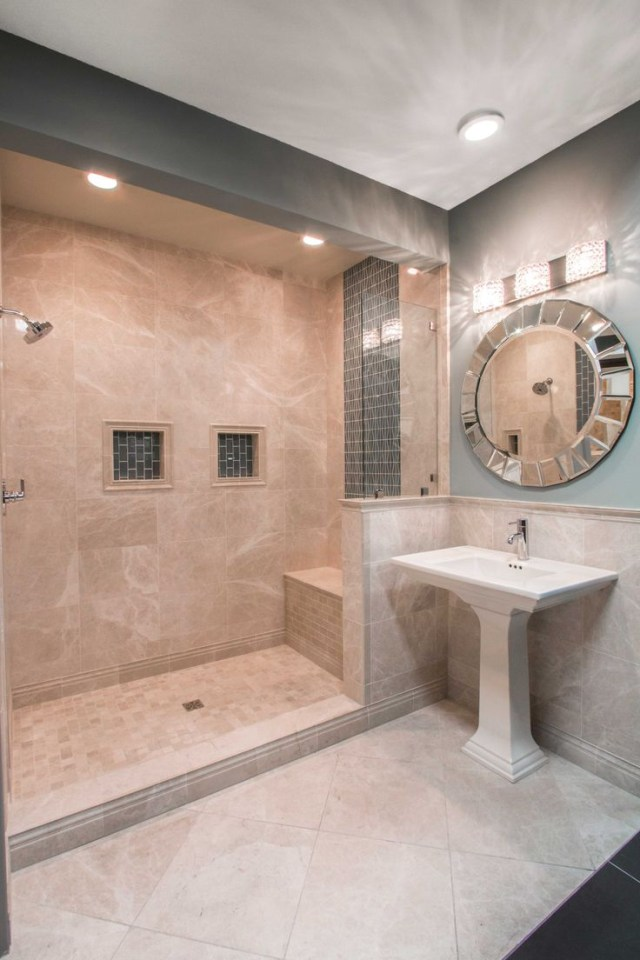 Elegant Beige Taupe And Cream Colored Bathroom Tile