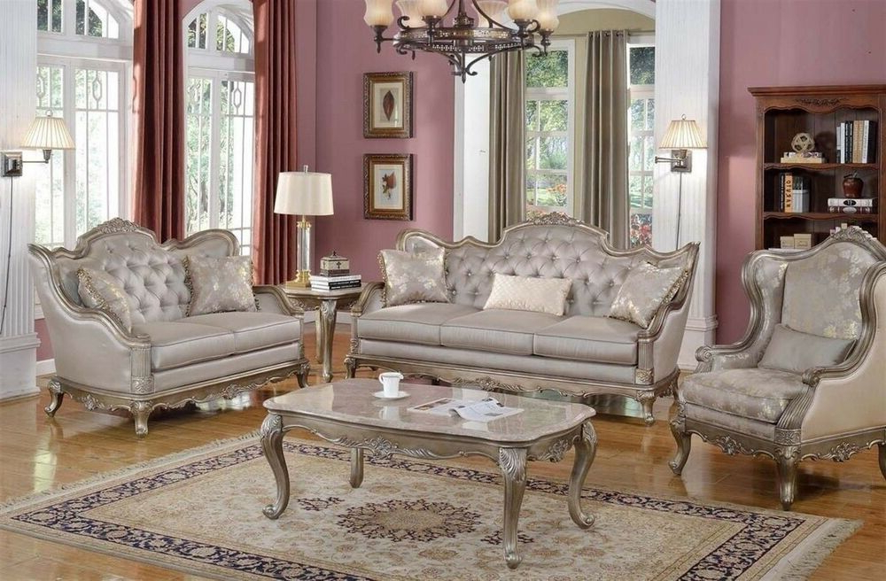 Elegant Traditional Antique Style Sofa Loveseat Formal