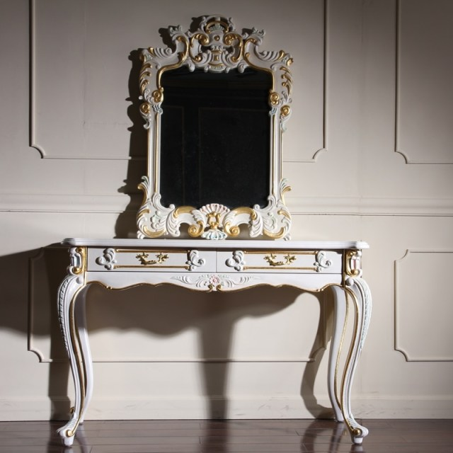 European Style Childs Dresser Antique Vanity Dresser With Mirror Gold Wooden Dressing Table In