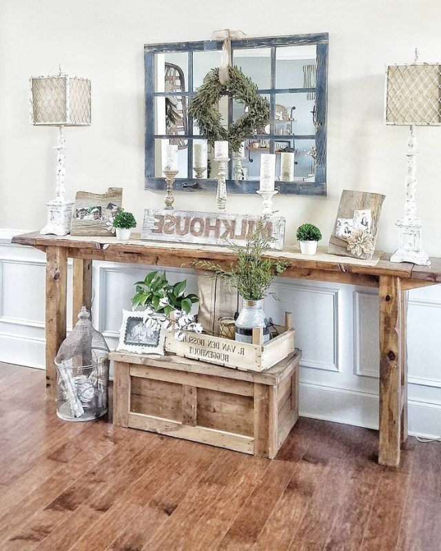 Farmhouse Style Console Table Rustic Narrow Table