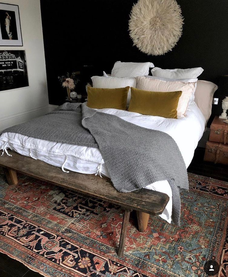 Feature Wall Rug And Those Velvet Cushions Home Bedroom