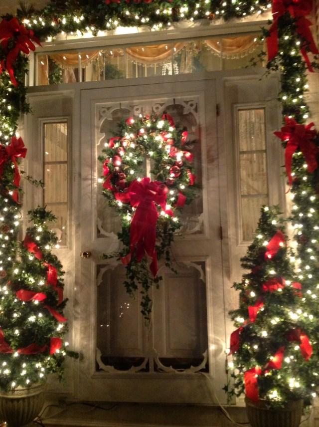 Front Door At Night Time Front Door Christmas
