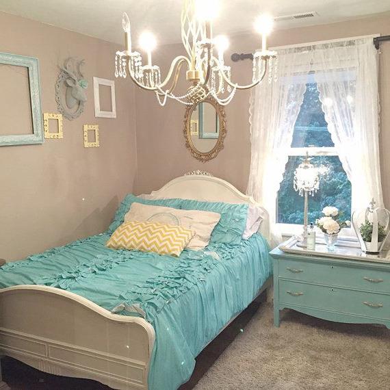 Full Size Bed Frame White Chalk Paint Pearl Glaze Girls