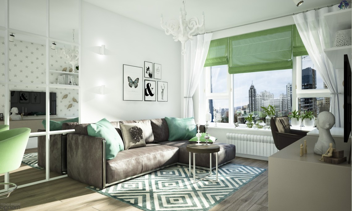 Gorgeous Studio Apartment Design Decorated With Beautiful