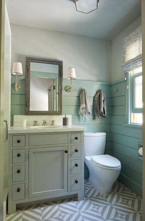 Gray Washstand With Green Shiplap Trim Cottage Bathroom