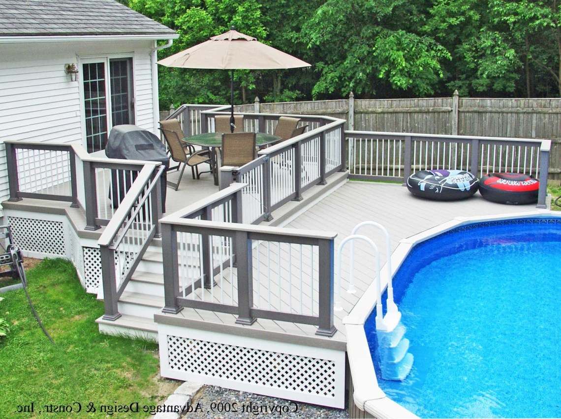Grey And White Decks For Above Ground Swimming Pools