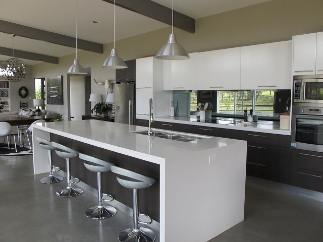 Grey Gloss Contemporary In Line Kitchens With Island