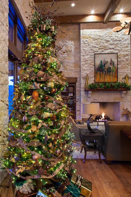 Hill Country Christmas Farmhouse Living Room Austin