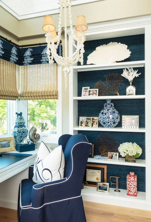 Home Office Bookcase With Grasscloth Wallpaper And Coastal