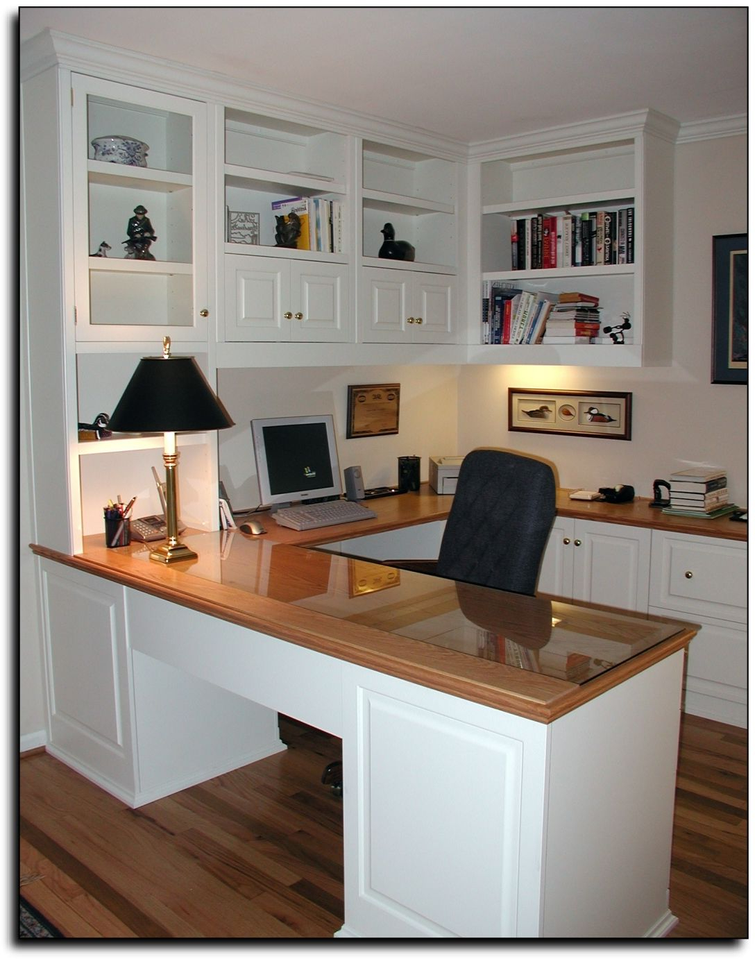 Home Office In U Shape With Desk Home Office Cabinets