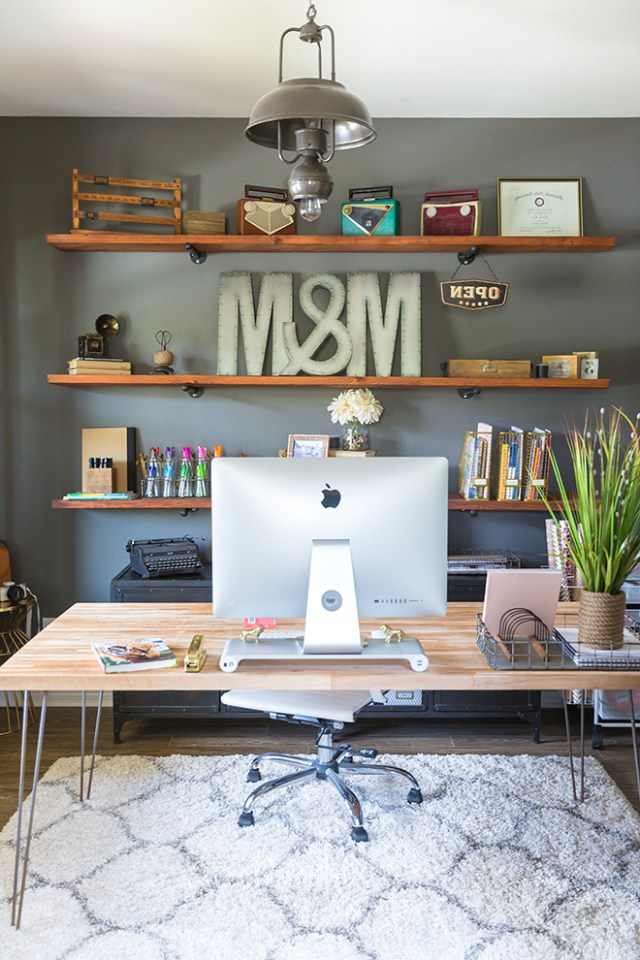How To Build Industrial Wood Shelves Home Office Decor