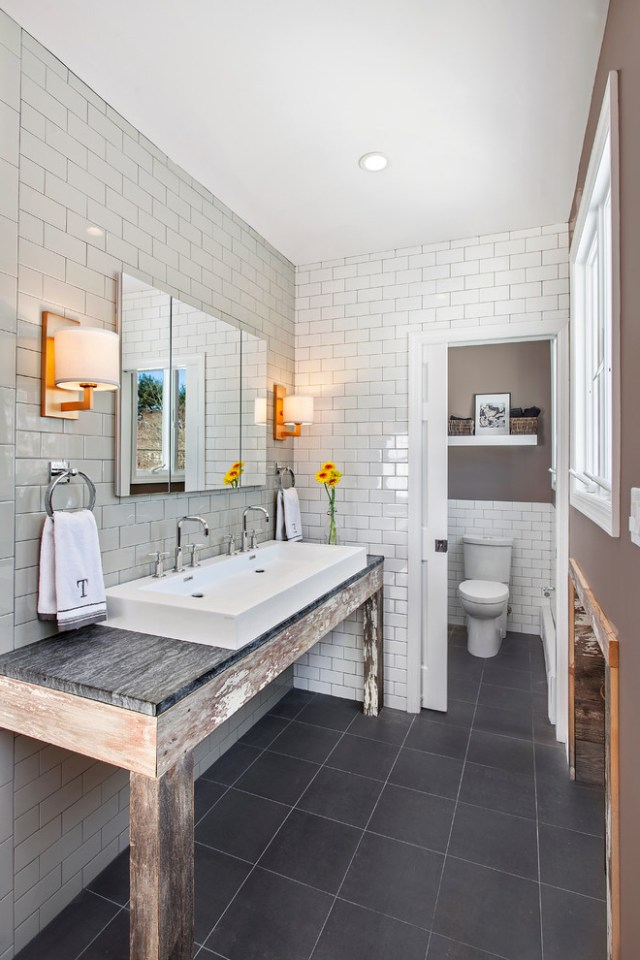 Impressive Frameless Mirror In Bathroom Rustic With Two