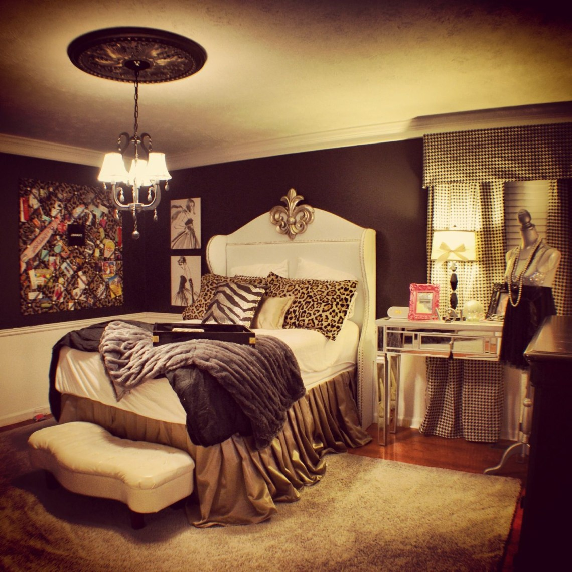 Irelands Chanel Themed Bedroom With Houndstooth Curtains