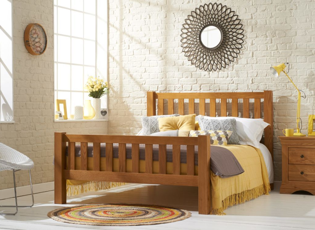 Kingsbury Oak Wooden Bed Frame Bedroom Furniture Uk