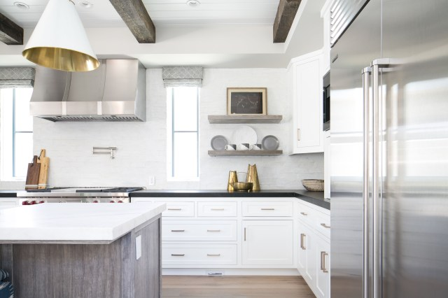 Kitchen White Kitchen Reclaimed Wood Beams Built In