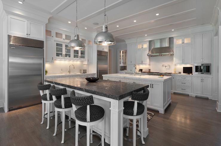 Kitchen With 2 Islands Transitional Kitchen Blue