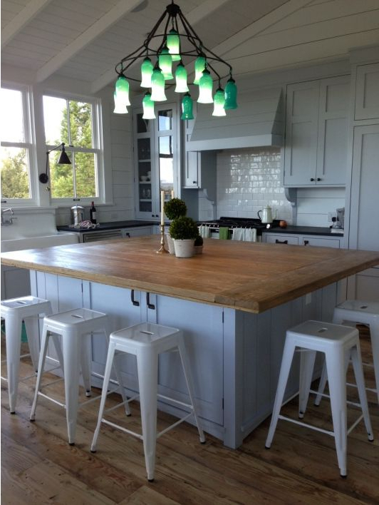 Kitchen With Wooden Island Table Oversized Kitchen