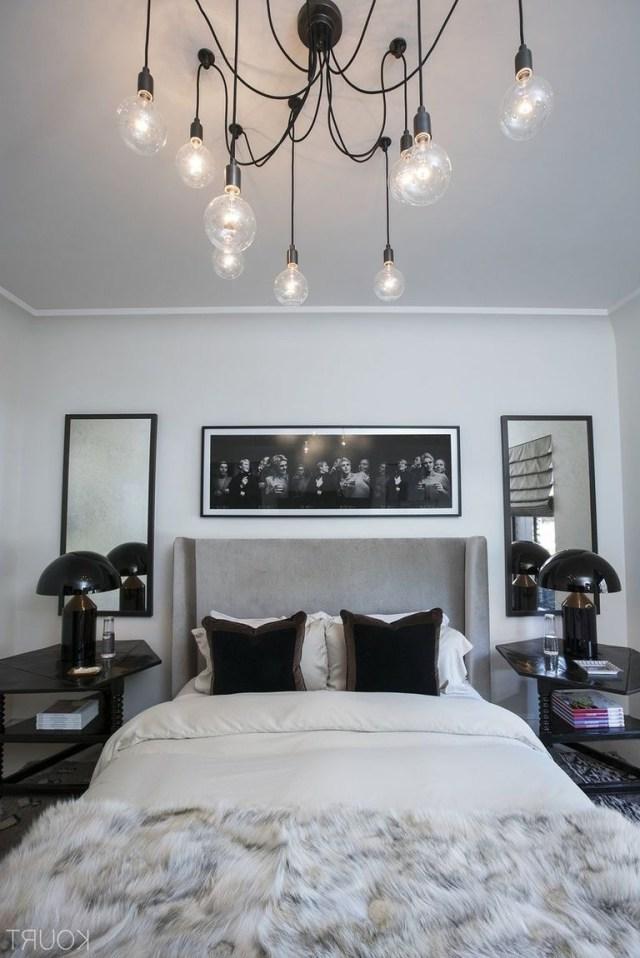 Kourtney Kardashians Guest Bedroom Grey Headboard Black