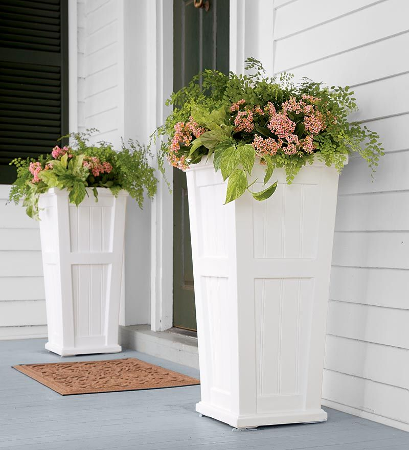 Lexington Tall Self Watering Planter Either Side Of The