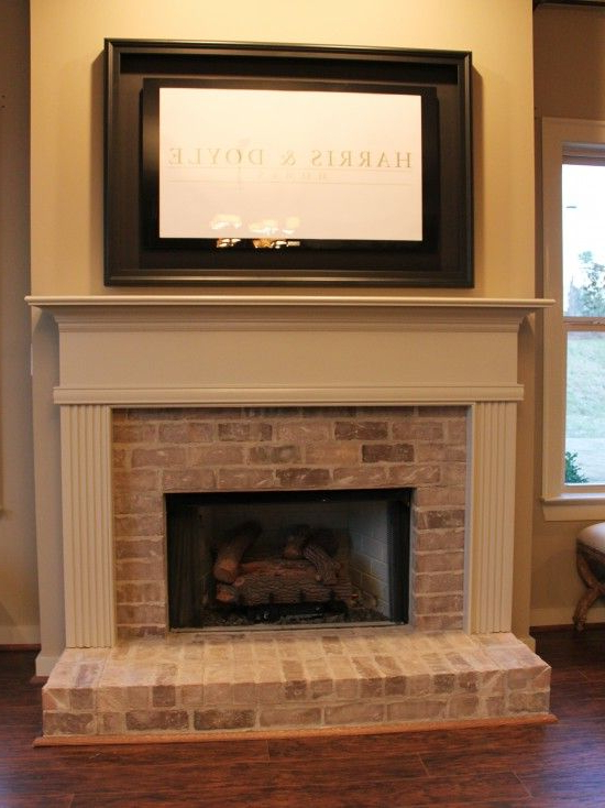 Like Mantel Color And Brick Brick Fireplace Design