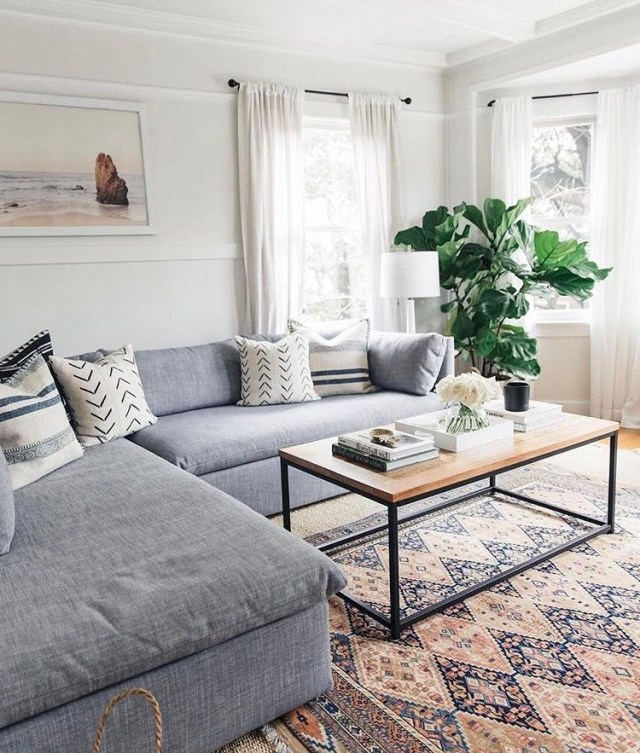 Living Room Cozy Couch Patterned Carpet Minimalist