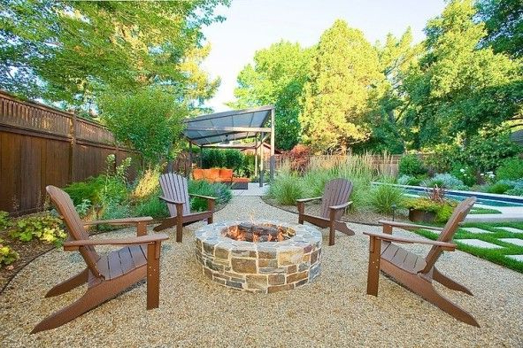 Love This Fire Pit Area With Crushed Stone Backyard Fire