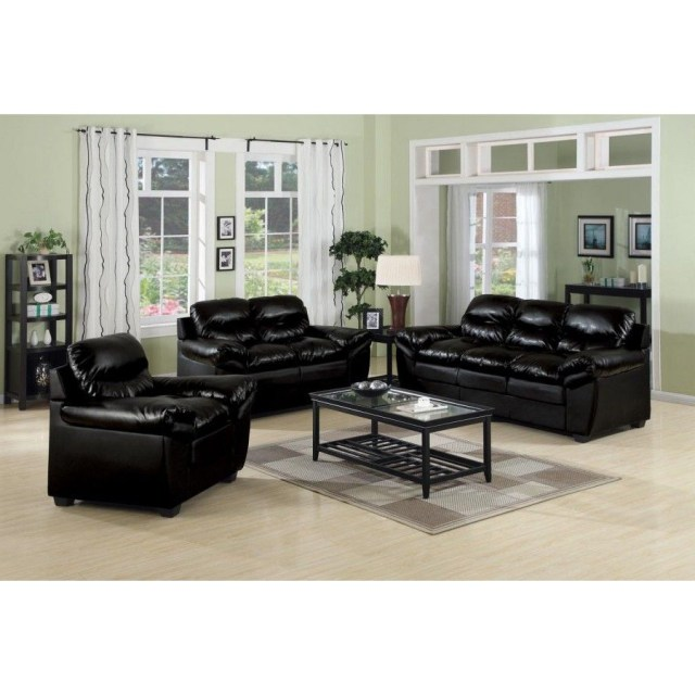 Luxury Black Leather Sofa Set Living Room Inspiration Best