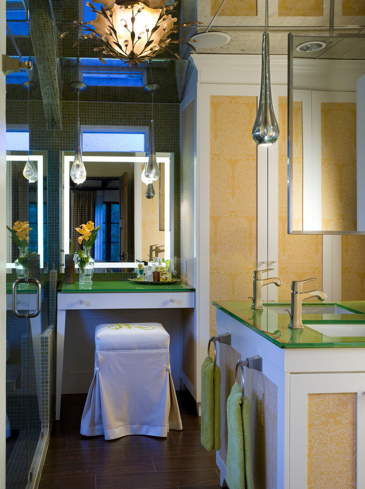Marvelous Lighted Makeup Mirror In Bathroom Traditional