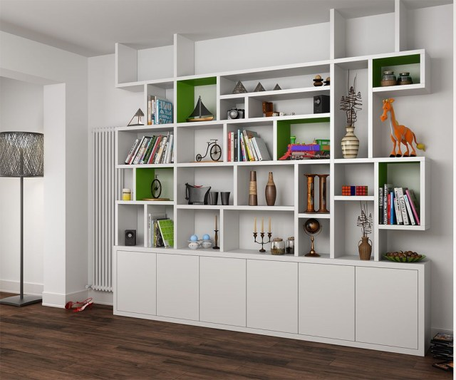 Mdf Painted Bookcase In The Living Room Bookshelves In