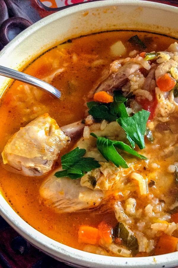 Mexican Caldo De Pollo Or Chicken Soup Mexican Style Is A
