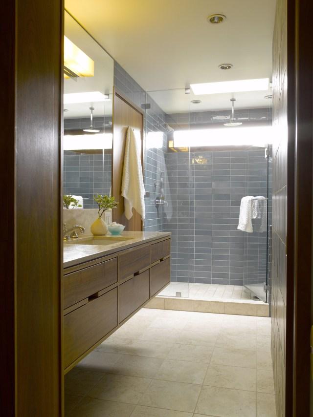 Mid Century Bathroom Remodel Heath Ceramic Tiles Walnut