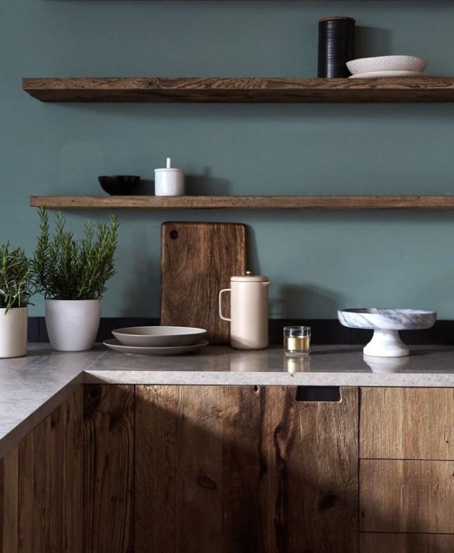 Mid Tone Natural Wood Cabinets Floating Shelves Dark