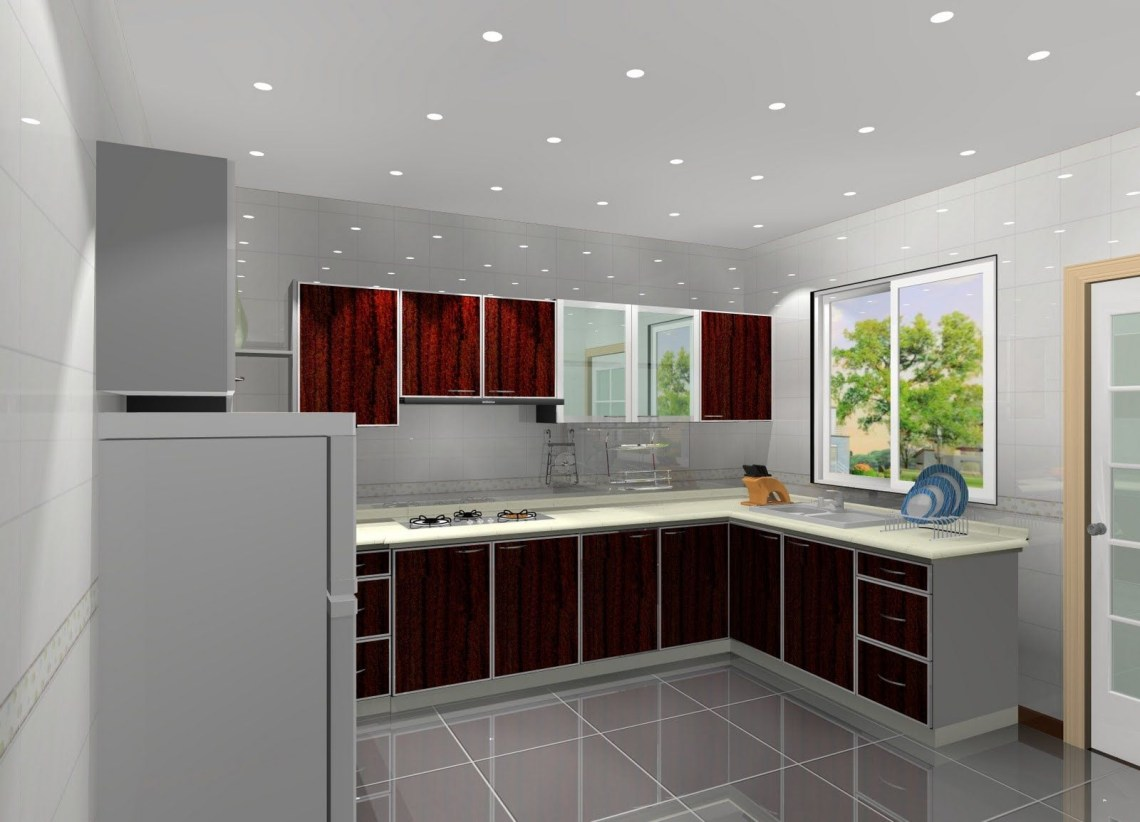 Minimalist Kitchen Idea With Hidden Ceiling Lights And