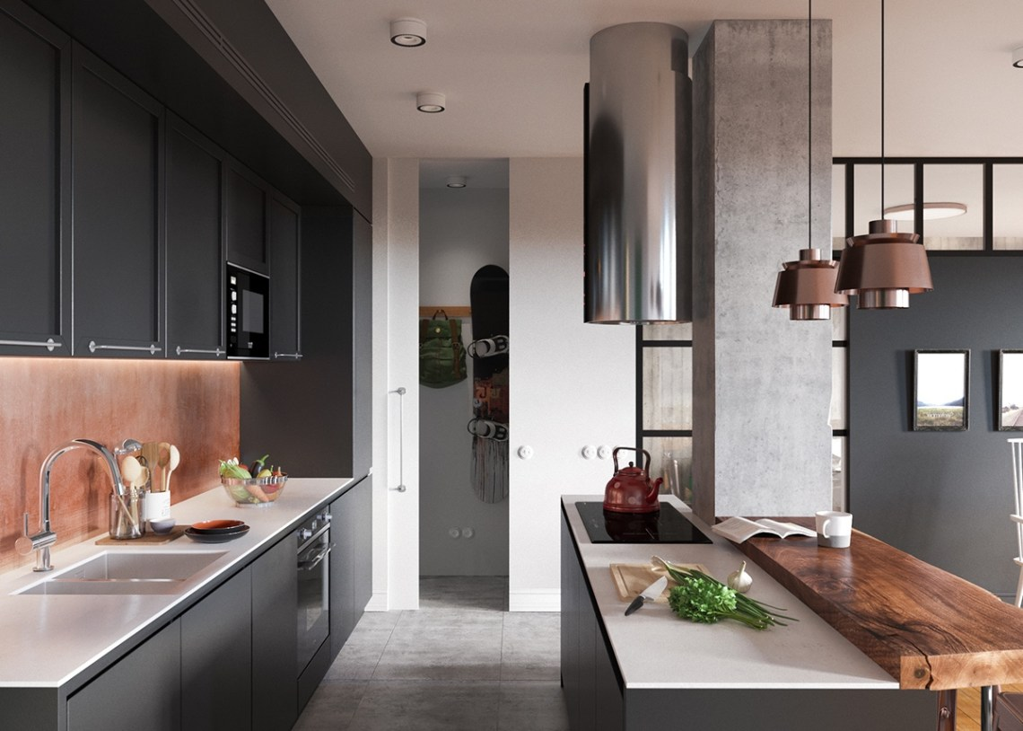 Minimalist Studio Apartment Design Applied With A Gray And
