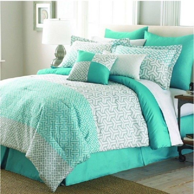 Mint Green 8 Piece Comforter Set White King Queen Bedding