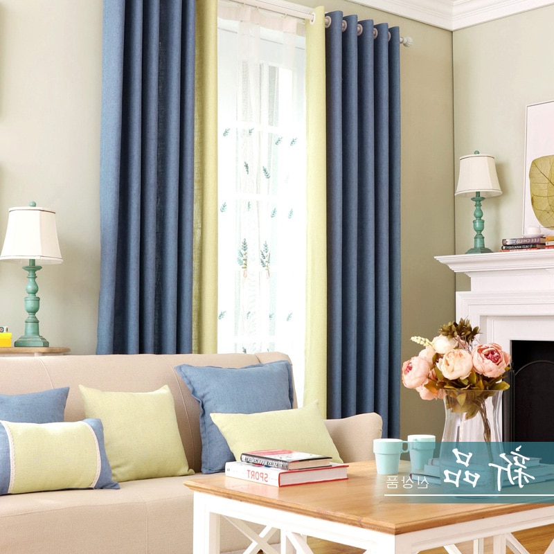 Modern Blackout Curtain Fabrics For Living Room Blue