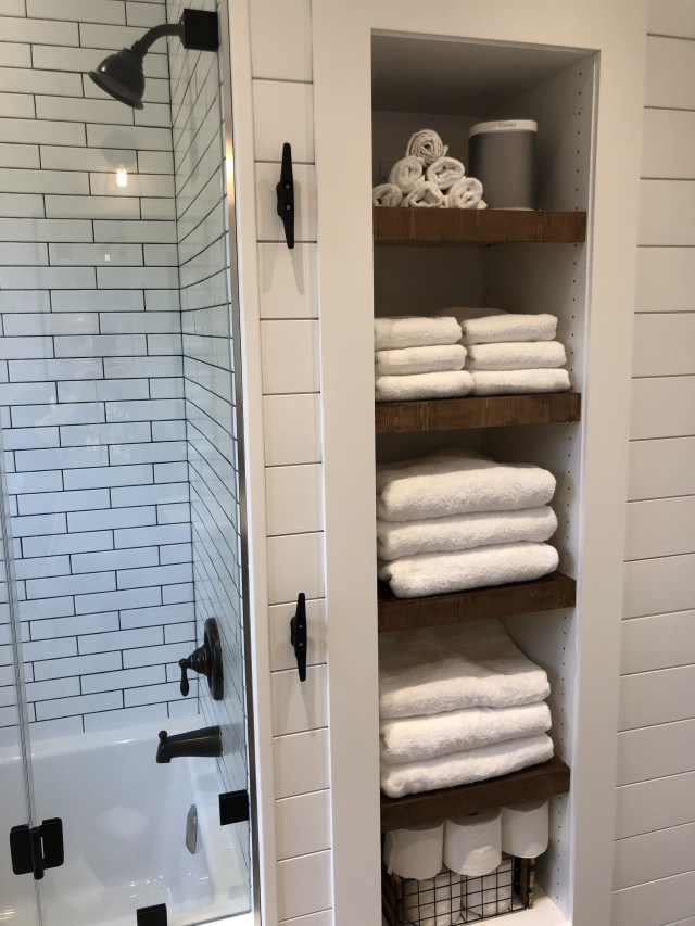 Modern Farmhouse Bathroom With Wood Vanity Shiplap Walls