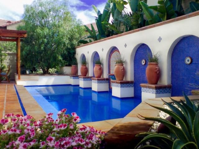 Modern Spanish Sevilla Style Backyard With A Pool Spa Home