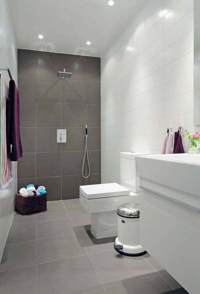 Natural Small Bathroom Design With Large Tiles Small