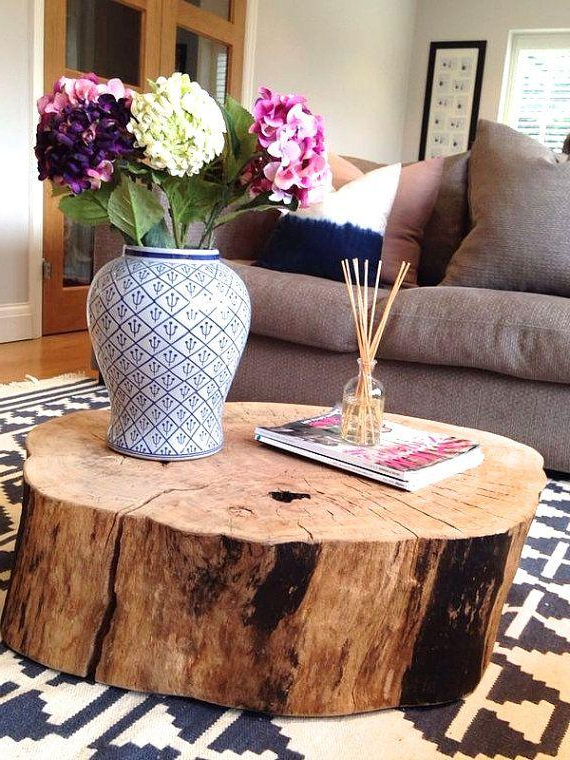 Natural Wood Coffee Tabler Made Of Real Tree Trunk