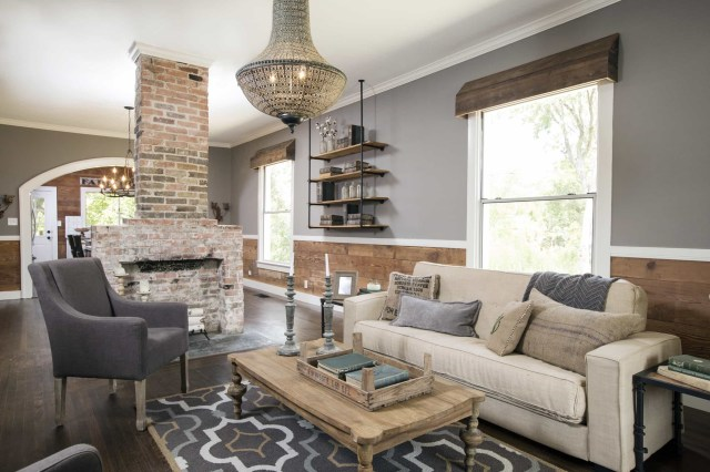 Natural Wood Paneling And Exposed Brick Fireplace 71725