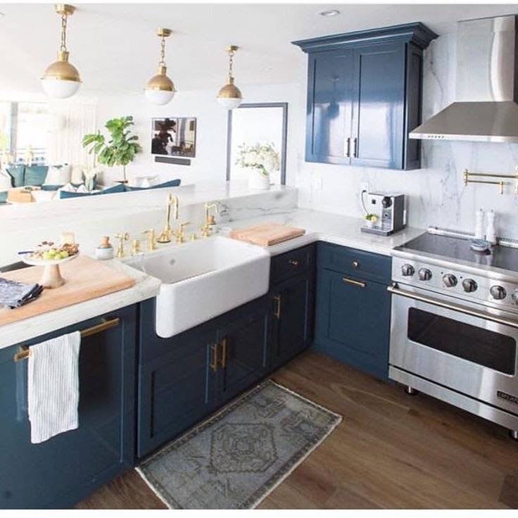 Navy Blue Cabinets With Gold Accents Home Decor Kitchen