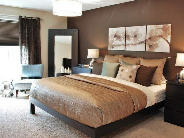 No Headboard Accent Wall With Canvas Trio Brown Master