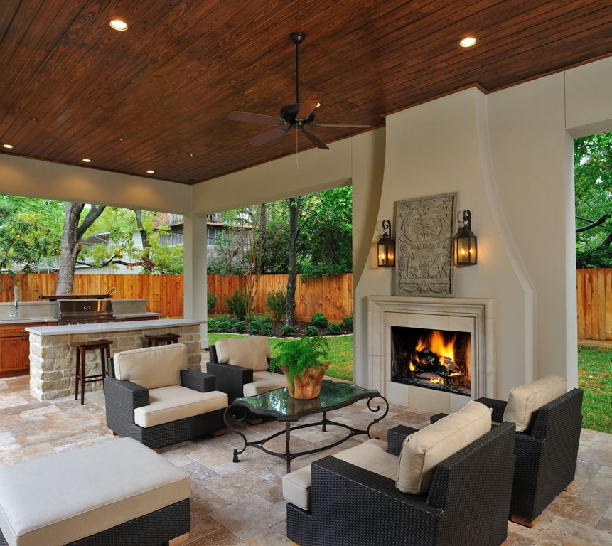 Outdoor Living Room Kitchen With Fireplace Its Like A