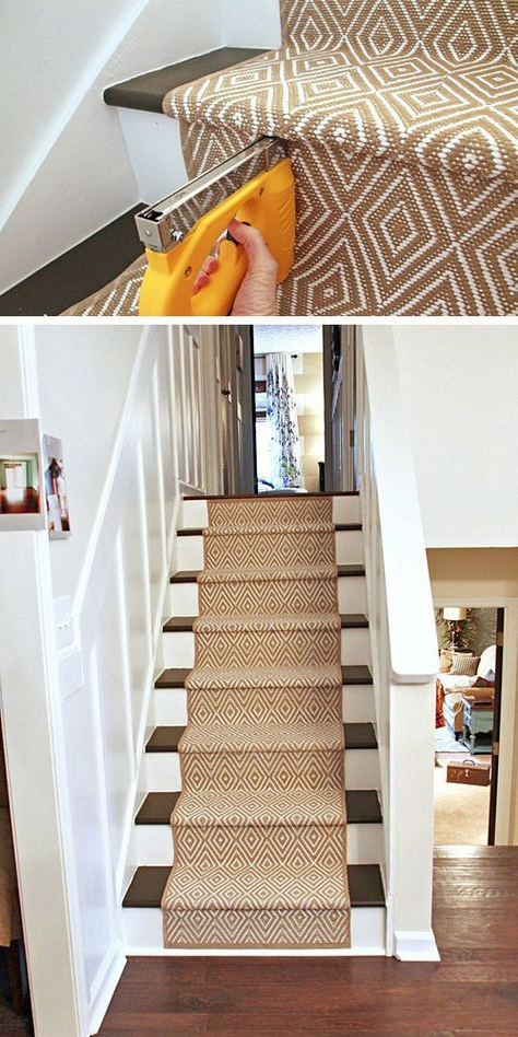 Painted Stairs And Adding Runners Diy Stairs Stair Makeover Staircase Makeover